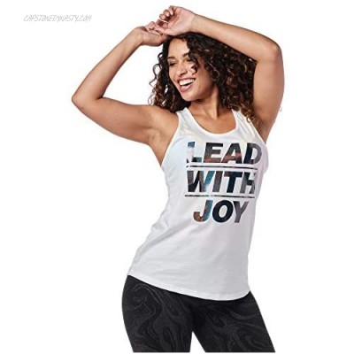 Zumba Graphic Print Dance Fitness Tank Tops Activewear Workout Tops for Women Wear It Out White A S