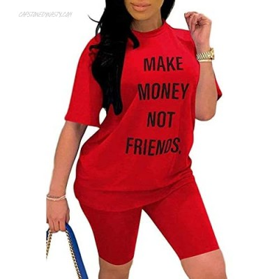 Bwogeeya Two Piece Outfits For Women Funny Letter Print Short Sleeve T Shirt With Shorts Casual Tracksuit Sets
