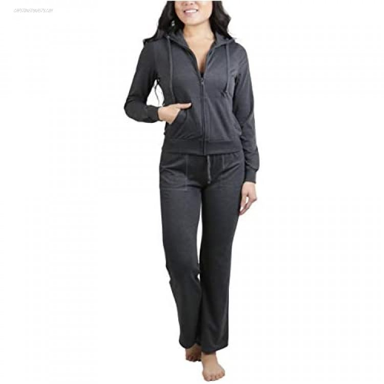 ToBeInStyle Women's French Terry Activewear Hooded Jacket & Pants