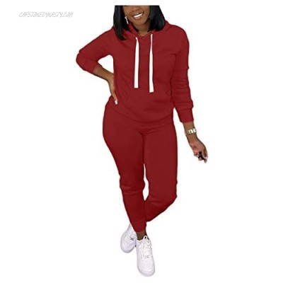 Women's 2 Piece Outfits Cute Sports Sweatsuits Long Sleeve Pullover Hoodies + Long Pants Tracksuit Lounge Jogger Sets