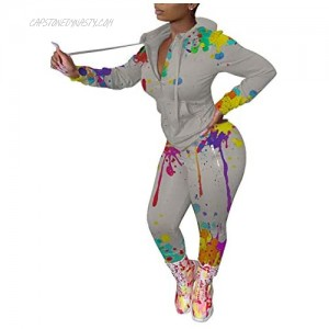 Women's Casual 2 Pieces Workout Outfit Painting Long Sleeve Jacket Top Bodycon Pants Set Tracksuit Sportswear