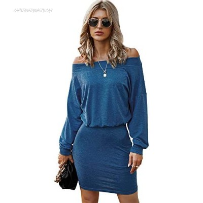Women's Summer Bodycon Dress Long Sleeve Fitted Stretch Off Shoulder Night Club Party Mini Dress