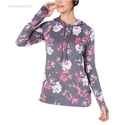 Ideology Womens Floral-Print Lace-Up Hoodie Autumn Bloom Heather (Small) Grey