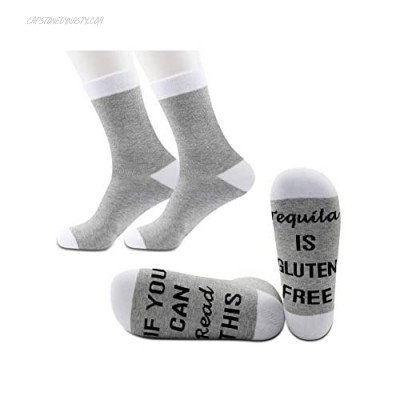 JXGZSO2Pairs Tequila Lover Socks Tequila Lover Gift If You Can Read This Tequila is Gluten Free Socks