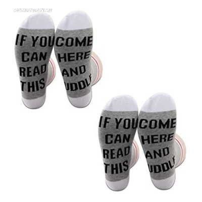 PXTIDY 2 Pairs Funny Socks Gift If You Can Read This Come Here And Cuddle Novelty Socks for Men Women