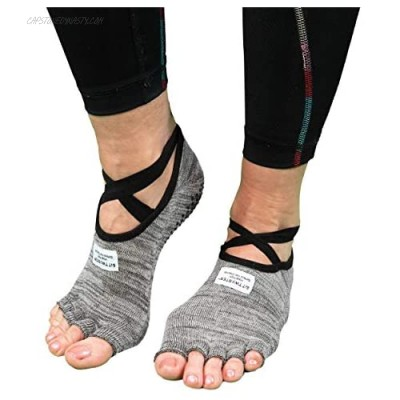 SIT TWISTER Exercise Socks - Performance Sport Socks with Grips - Use for Yoga Pilates Working Out & More - Made with All-Natural Hygenic Bamboo Charcoal Powder (Cotton & Spandex Grey)