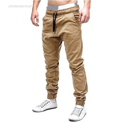 Annystore Casual Mens Athletic Drawstring Pants Slim Fit Workout Sweatpants Running Track Elastic Trousers