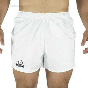 Rhino Rugby   Performance Game Shorts   Mens Athletic Short   100% Polyester   Fitness Training and Sport Apparel   White   Size L