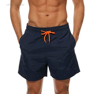 FREDRM Mens Swim Trunks Quick Dry Boardshorts with Mesh Lining Above Knee Swimwear Bathing Suits (Navy Blue M)