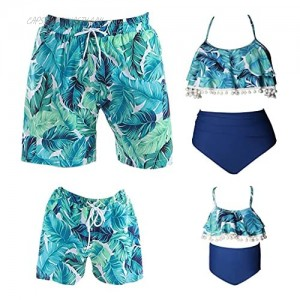 Family Matching Swimsuits - 2 Piece High Waisted Bikini Bathing Suits for Women and Girls - Mens Boy Swim Trunks with Pockets
