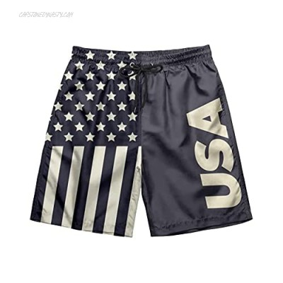 American Flag Mens Swim Trunks Short Quick Dry Mesh Lining Sports Shorts Swimming Trunks with Pockets