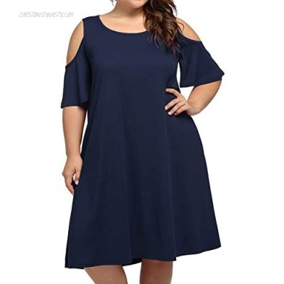 kissmay Plus Size Women's Cold Shoulder Casual T-Shirt Swing Dresses with Pockets
