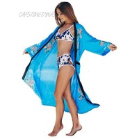 Women's Bikini Cover Ups Sexy Swimsuit Poolside Robe Cardigan Kimono Sky Floral Embroidery with Pockets Open Front Long Sheer Duster …
