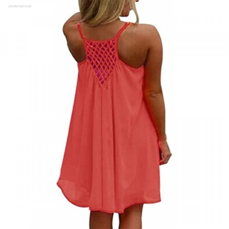Women's Plus Size Summer Sleeveless Spaghetti Strap Backless Swing Loose Bathing Suit Cover Up Beach Dresses