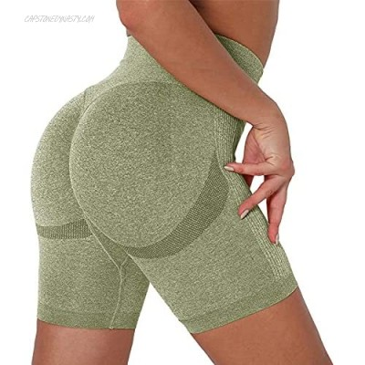 chimikeey High Waisted Yoga Shorts for Women Butt Lifting Tummy Control Workout Scrunch Booty Short Leggings Army Green